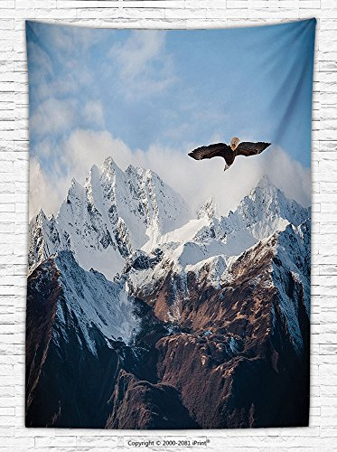 Apartment Decor Fleece Throw Blanket Frozen Peaks Tops of the Mountain with a Flying Eagle Free in the Nature Photo Throw (Elvis Eagle Cape)