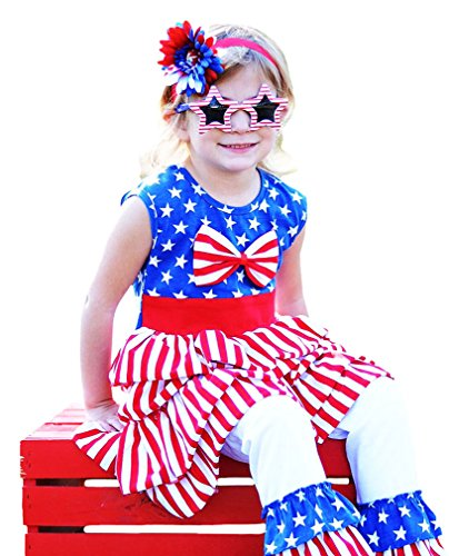 Wholesale Princess Red, White and Blue 4th of July Tunic and Pant Set 3T
