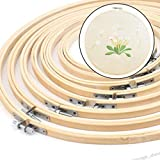 HATCHMATIC 13/15/18/21/23/26/30/34cm Embroidery Hoops Frame Set Bamboo Wooden Embroidery Hoop Rings for DIY Cross Stitch Needle Craft Tools: H