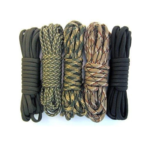 Five Colors 32mm Key Rings /& Black 32mm Key Rings Olive Drab, ACU, Woodland Camo, Desert Camo, /& Black 5 Paracord 550  Kit 100 Feet Total w//10 3//8 Black Side Release Buckles /& 5 100 Feet Total w//10 3//8 Black Side Release Buckles /&