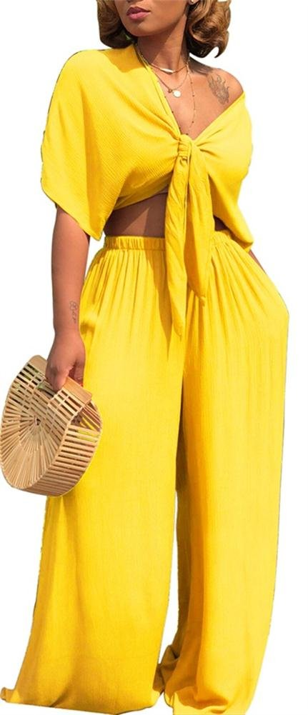VLUNT Women's Sexy 2 Piece Outfits V-Neck Crop Top and Wide Leg Long Pants Jumpsuits Set,Yellow-M