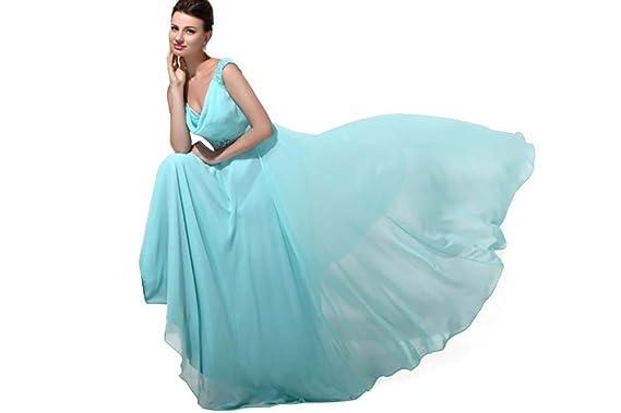 HotQueen Hot Queen Womens V-Neck Sequins Sleeveless Chiffon Long Prom Dresses Size 6 UK