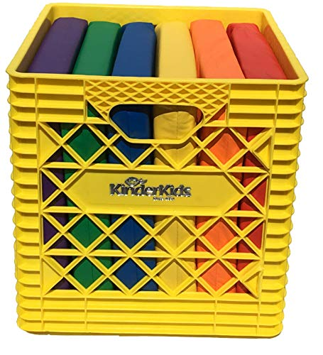KinderMat, Yellow KinderCrate, 6-Pack of 13.5 inch KinderCushions and Sturdy Storage Container, 2 inches Thick Squares Story Time Cushions, Alternative Seating, Yellow Blue Green RedPurple Orange (And Green Yellow Cushions)