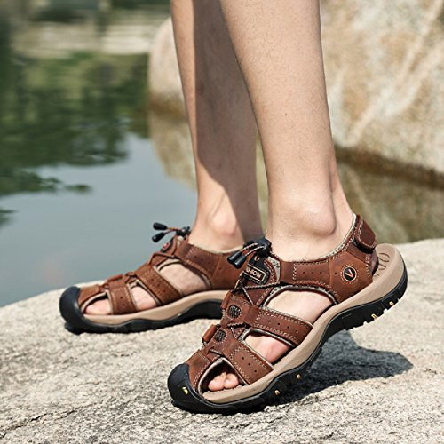 Beeagle Sandals Shoes Athletic Hiking Beach Brown Leather Fisherman Sports Lightweight Trekking Outdoor Mens gqfgrXB