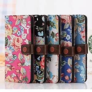 ZL Colorful Flower Pattern Wallet Leather Full Body Cover with Stand for iPhone 6 Plus (Assorted Colors) , Blue
