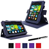 "rooCASE Amazon Kindle Fire 7 Case - (2013 Previous Generation) Dual View Multi Angle Tablet 7-Inch 7"" Stand Cover - NAVY (With Auto Wake / Sleep Cover)"