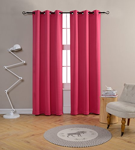 Mysky Home Grommet top Thermal Insulated Window Blackout Curtain for Living Girls Room, 42 by 84 inch, Fuschia Pink(1 panel) (Pink Living Room)