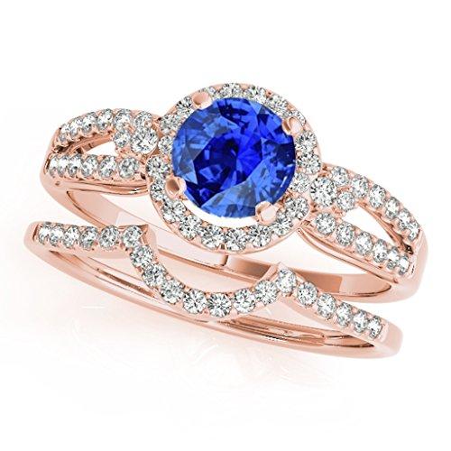 1.25 Ct. Halo Tanzanite And Diamond Engagement Bridal Set In 14k Rose Gold
