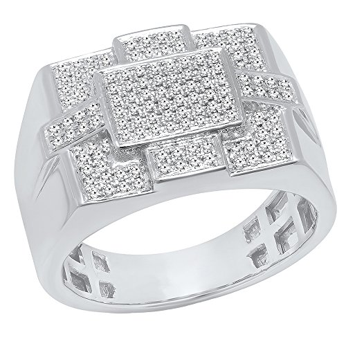 0.50 Carat (ctw) 10K White Gold Round Diamond Men's Micro Pave Hip Hop Ring 1/2 CT (Size 10) by DazzlingRock Collection