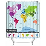 World Map Shower Curtain by Homeizen 71 X 71 Inches with 12 Hooks Premium Quality 100 % Woven Polyester Fabric - Colorful Maps of 7 Continents and All Countries PVC Free Odorless
