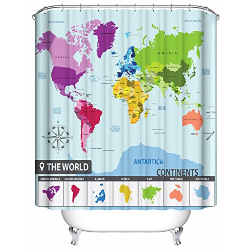 World Map Shower Curtain 71 X 71 Inches With 12 Sturdy Hooks Premium
