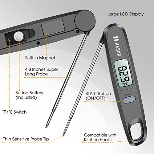 Cooking Thermometer, Habor UPGRADED Meat Thermometer Kitchen Thermometer Instant Read Thermometer with Foldable Probe for Food Baking Liquid Meat BBQ Grill Smokers by Habor (Image #6)