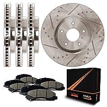 Front + Rear Premium Slotted & Drilled Rotors and Ceramic Pads Brake Kit KT102833 | Fits: 2012 12 2013 13 Honda Pilot