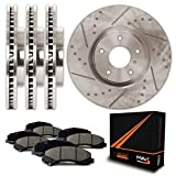 Max KT079333 Front + Rear Premium Slotted & Drilled Rotors and Ceramic Pads Combo Brake Kit
