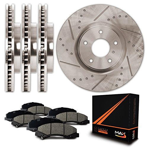 Max Brakes Premium Slotted+Drilled Rotors w/Ceramic Pads Front + Rear Perforamnce Brake Kit KT058433 [Fits 2002 - 2005 Ford Thunderbird | 2000 - 2006 Lincoln LS | 2000 - 2002 Jaguar S Type] by Max Advanced Brakes