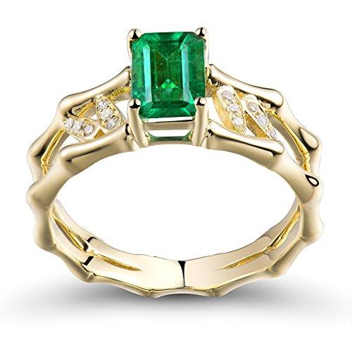(Lanmi Solid 14K Rose Yellow Gold Natural Emerald Rings Engagement Wedding Diamond Band for Women)