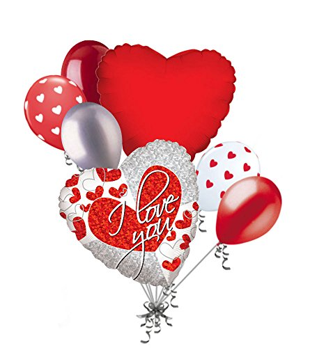 Love Balloon Bouquet (7 pc I Love You Red & Silver Heart Valentines Day Balloon Bouquet Mine Hug Kiss Sweetest)