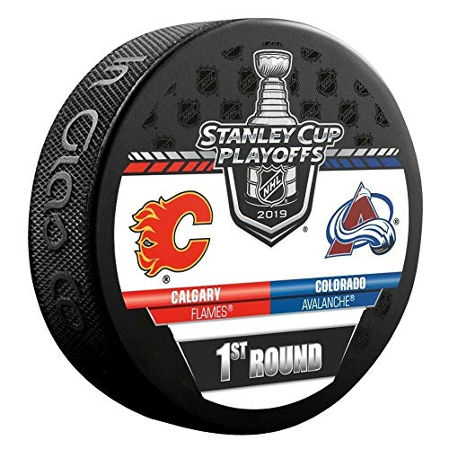 2019 Stanley Cup Playoffs Hockey Puck 1ST Round Avalanche VS. Flames Souvenir Puck Shipping Now!!!