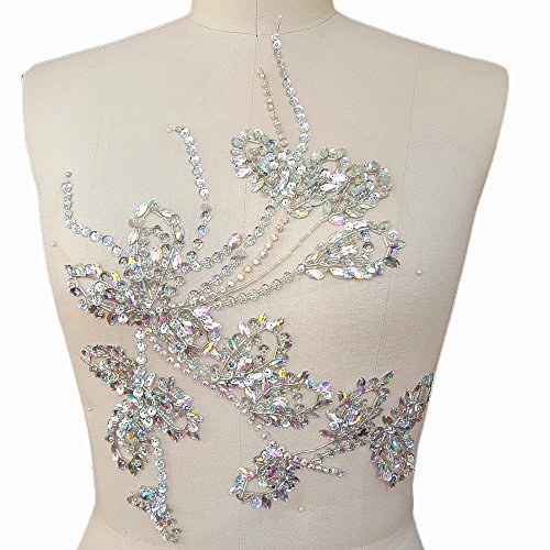 Handmade Beaded 27x35cm Bling Flower AB Color Stone Sequin Sew on Beads Rhinestones Applique Collar Trim Crystals Patches Sewing for Wedding Dress Accessory DIY Chest Waist Decoration (AB)