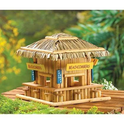 Wooden Birdhouse Hummingbird Chickadee Thatch Roof Outdoor Indoor Decorative - Thatch House