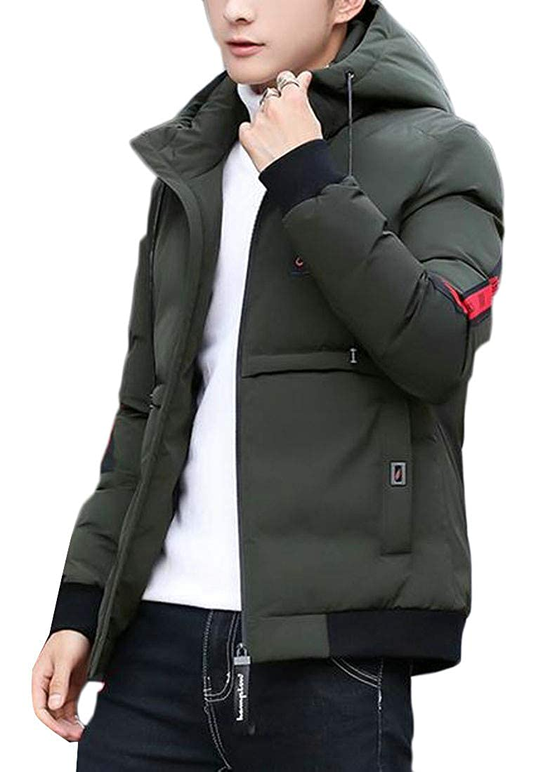 Etecredpow Mens Thick Winter Hooded Letter Print Quilted Parka Coat Jacket
