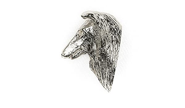 Silver Finish Rough Collie Brooch