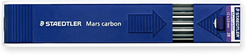 Pack of 12 STAEDTLER Mars Carbon Leads Pack of 12 + STAEDTLER Mars Carbon 4B Plastic Lead
