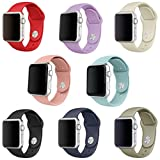 Band for Apple Watch 38mm, Soft Silicone Sport Strap Replacement iWatch Wristband for Apple Watch Series 3 Series 2 Series 1 Sport Edition Nike Versions Women, 8 Pack (38 Small)