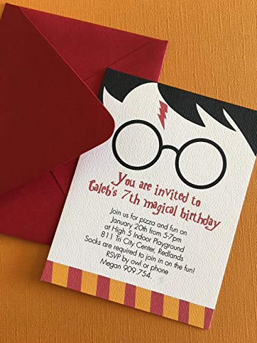 Harry Potter themed birthday party invitation, set of 12, magic, witch, school of witchcraft, kids birthdays, printed invitations (Harry Potter Birthday Party Invitations)