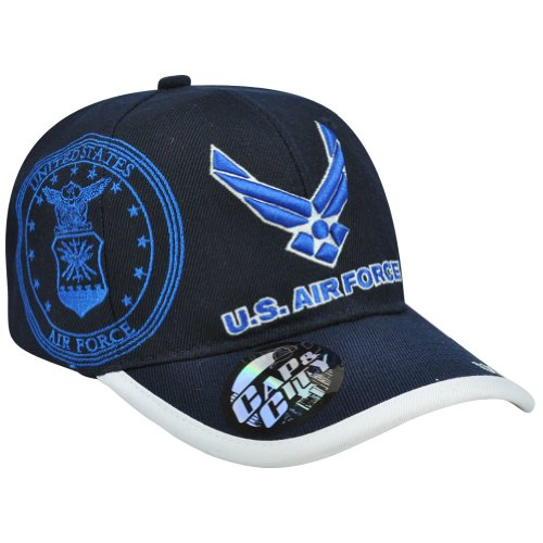 United States US USA Air Force Wings Blue Military War Seal Hat Cap Velcro