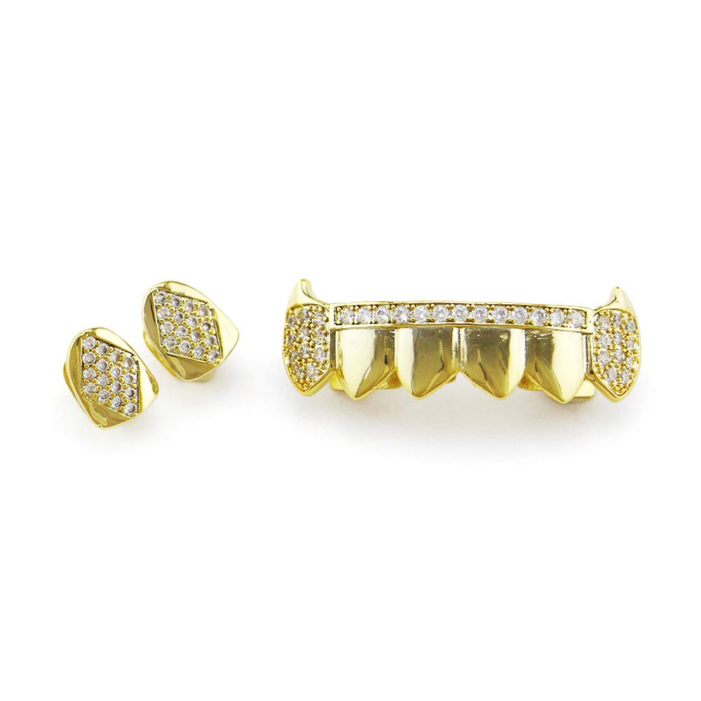Hip Hop Top & Bottom Grill Set Gold Grill Teeth Set Best Gift for Friend - Gold Plating Grillx - Excellent Cut for All Types of Teeth - Top and Bottom Grill Set - Hip Hop Bling Grill (Color : Gold) by ADPTT-BJ
