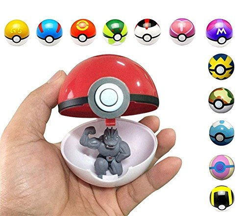 2 Pack Pokeball with Pokemon Mini Figure Inside & Bonus