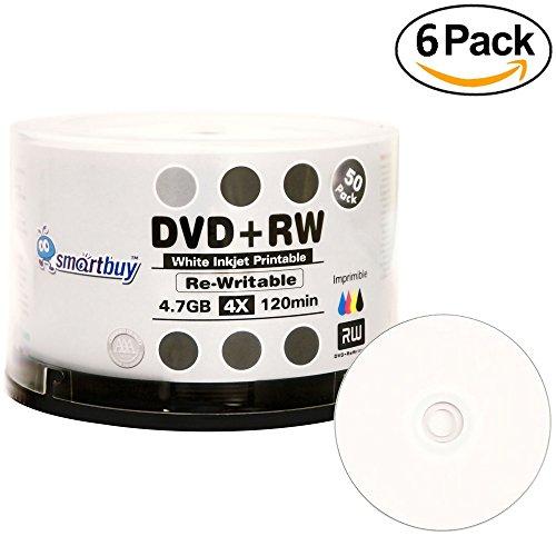 300 Pack Smartbuy Blank DVD+RW 4x 4.7GB 120Min White Inkjet Hub Printable Rewritable DVD Media Disc by Smartbuy