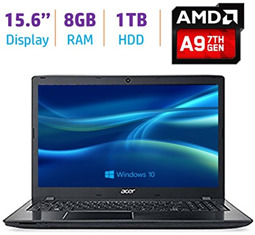 Newest Acer Aspire E Series 15.6'' HD CineCrystal Display High Performance Laptop PC, 7th Gen AMD A9-9410 2.9GHz Processor, 8GB DDR4 RAM, 1TB HDD, WiFi, HDMI, Bluetooth, Webcam, DVD, Windows 10-Black (Acer Dual Core Webcam)
