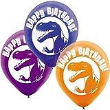 "Amscan Prehistoric Party Dinosaur Printed Latex Balloons Decoration, Multicolor, 12"""