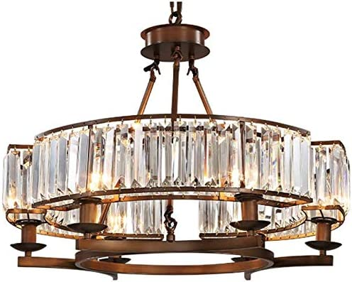 NOXARTE Round Crystal Chandelier Vintage Hanging Pendant Ceiling Light LED Dimmable Fixture
