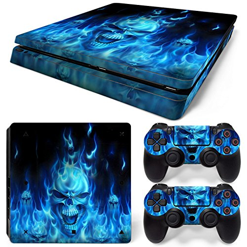 Gam3Gear Vinyl Decal Protective Skin Cover Sticker for PS4 Slim Console & Controller (NOT for PS4 or PS4 Pro) - Blue Skull