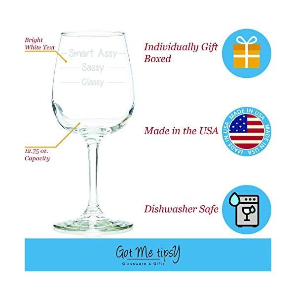 Classy Sassy Smart Assy Funny Wine Glass 13 Oz