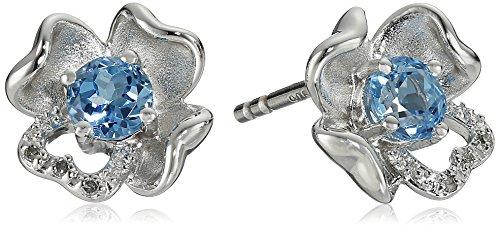 Sterling Silver Gemstone Diamond Earrings product image