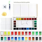 24 Assorted Water Colors Travel Pocket Set, Aolvo Watercolor Paint- Professional Art Water Colors Set with Water Color Brush Pen and Sponge for Kids Adults Painting