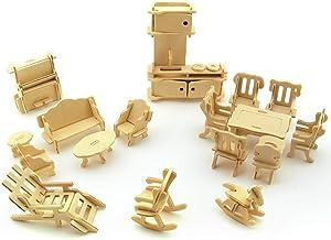 DIYARTS 34Pcs/Set 3D Wooden Miniature Furniture Puzzle Kit Dollhouse Furniture Model Toys for Kids Gift Adults Explore Creativity