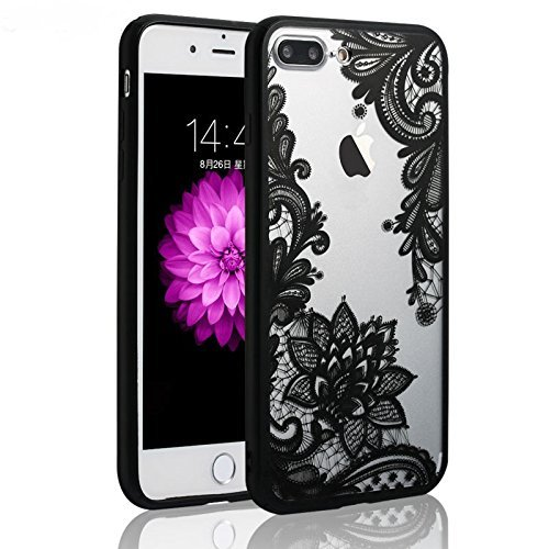 JICUIKE iPhone 7 Plus Case, [Render Print] Phone Cases Henna Paisley Datura Sexy Lace Flower Soft Border + Matte Hard Back Cover for iPhone 8 Plus Shell 5.5 Inch [Black Mandala]