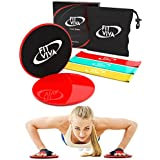 Workout Core Sliders Fitness Exercise and Resistance Loop Bands Bundle with Exercise eBook - Lightweight Workout Equipment for Home