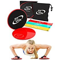 FLASH SALE! Gliding Discs Core Sliders Exercise and Resistance Loop Bands Bundle with exercise eBook from Fit Viva - Lightweight Workout Equipment for Home
