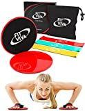 Workout Core Sliders Fitness Exercise and Resistance Loop Bands Bundle with Exercise eBook – Lightweight Workout Equipment for Home For Sale