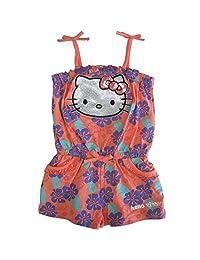 Sanrio Little Girls Coral Purple Hello Kitty Floral Tie Accent Romper 4-6X