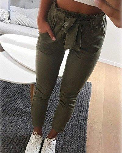 Moda Slim Tendenza Fit Eleganti Dei Pants Matita Verde Libero Pantaloni Estivi High Giovane Ragazze Stripe Damigella Lunghe Waist A Pantalone Tempo Tasche Due x1zvw7Yq0q