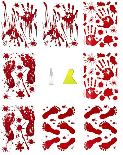 JBTAIN Halloween Decoration Bloody Handprint &Footprint Clings Decals, Horror Stickers with One Plastic Scraper & Plastic Bottle(8 Sheets) -