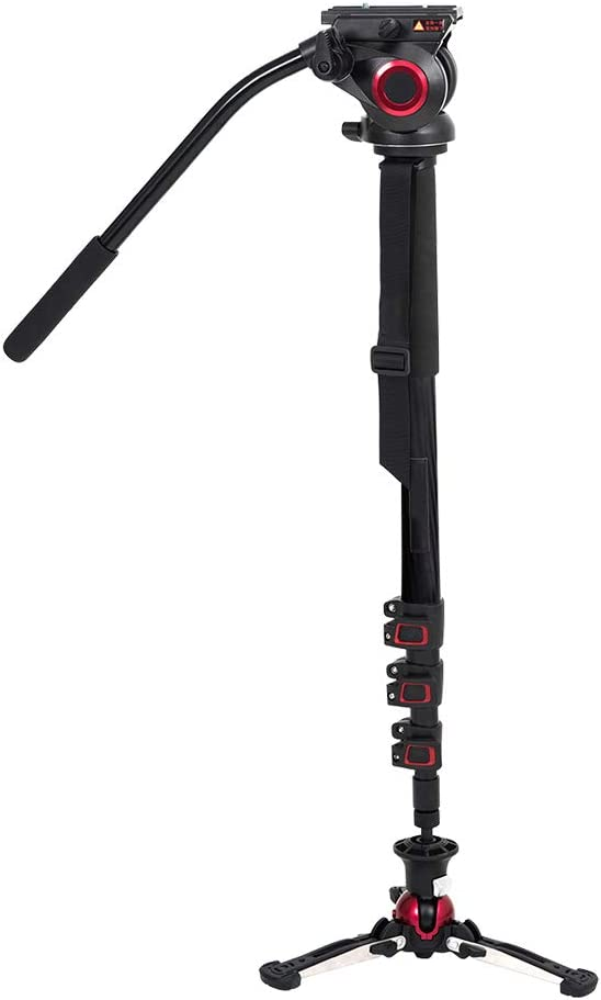 Miliboo Carbon Fiber Portable Fluid Head Camera Monopod with Pivoting and Lockable Foot Stand for DSLR Professional Video Tripod 73 inches Max Height 22 Lbs Max Load Capacity 705BS