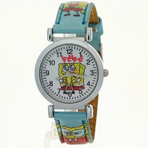 TimerMall SpongeBob SquarePants Children Kids Girls Boys Students Charm Leather Bracelet Wrist Watch